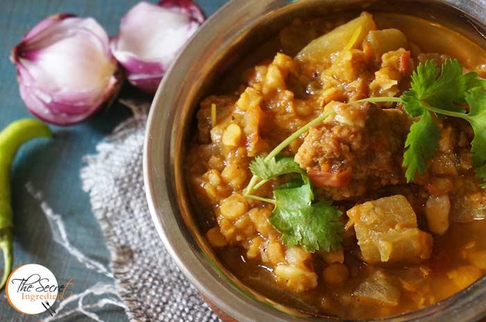 Dal Ghiya with Punjabi Vadiyan | Lentils with Bottle Gourd and Sundried Lentil Dumplings