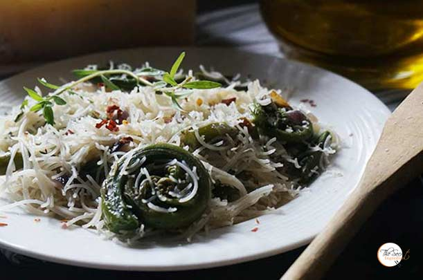 Wild Fiddlehead Fern & Angel Hair Pasta | Pahadi Lingda with Garlic and Herb Pasta