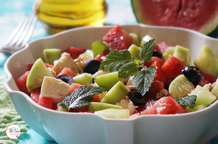 Summer Watermelon Feta Cheese and Olive Salad    Watermelon Goat Cheese Cucumber Salad in Balsamic Vinegar