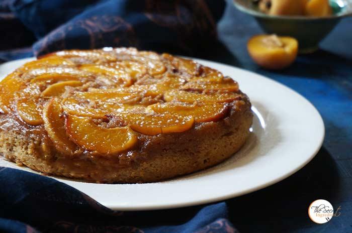 Peach Upside Down Cake   Eggless Part Wheat Peach Cake