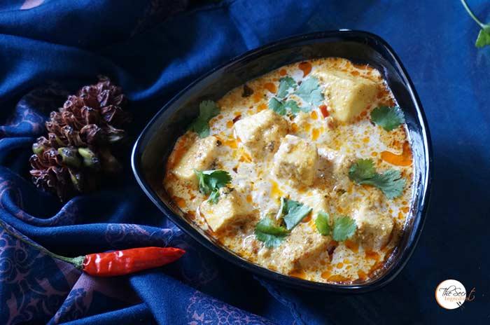 Restaurant Style Mughlai Shahi Paneer | Cottage Cheese Cubes in White Aromatic Gravy