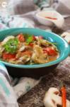 Malai Bell Pepper Mushroom | Mushroom Bell Pepper in White Sauce