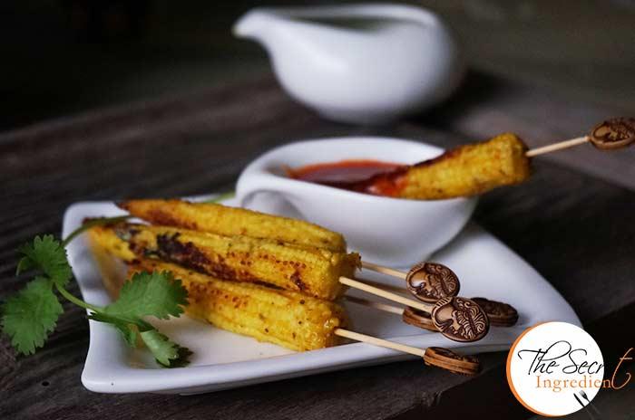 Baby Corn Satay Easy Baby Corn Starters Indian Vegetarian Twist To Southeast Asian Satays